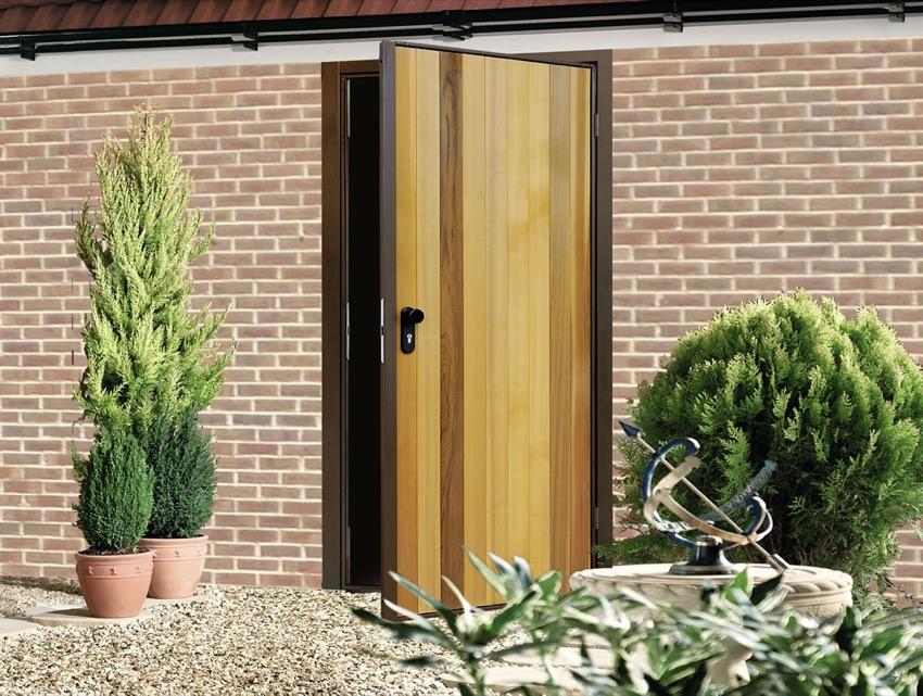 Vertical Cedar Garage Side Door