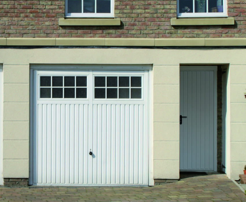 traditional-white-garage-door-matching-front-door