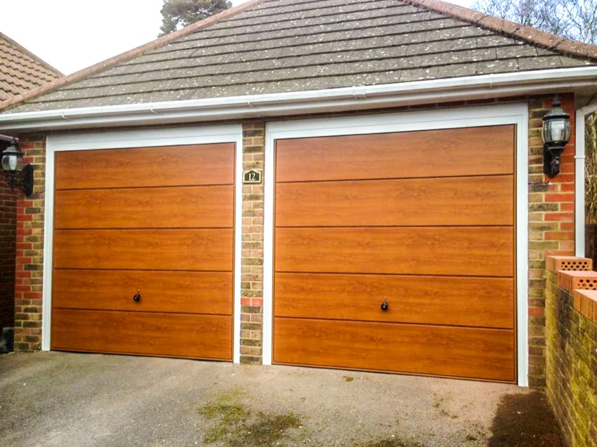 Wood effect overhead garage door