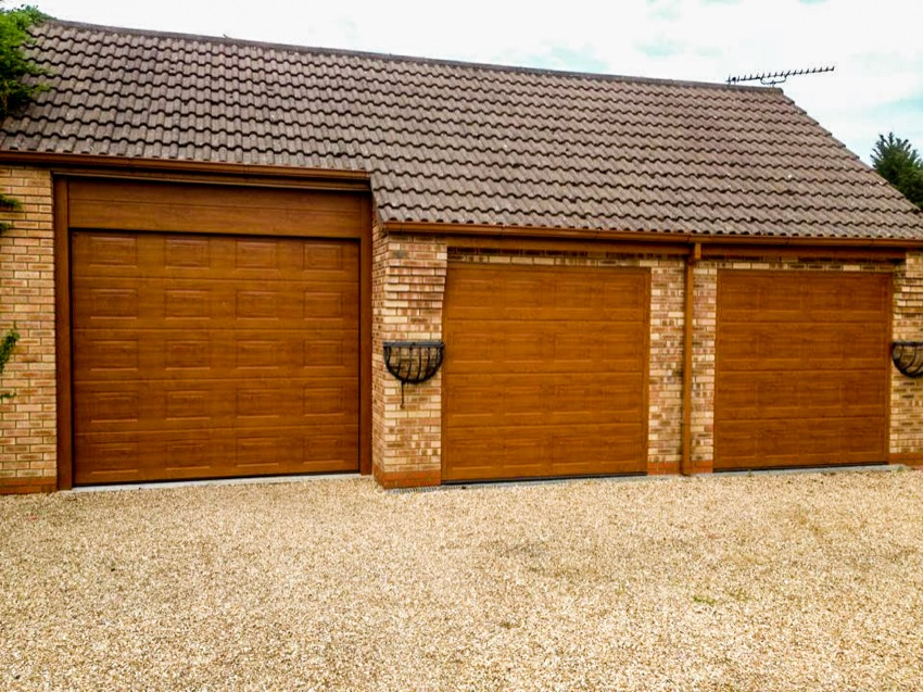 Overhead garage doors wood effect